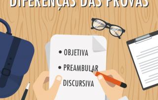 Provas objetiva, preambular e discursiva