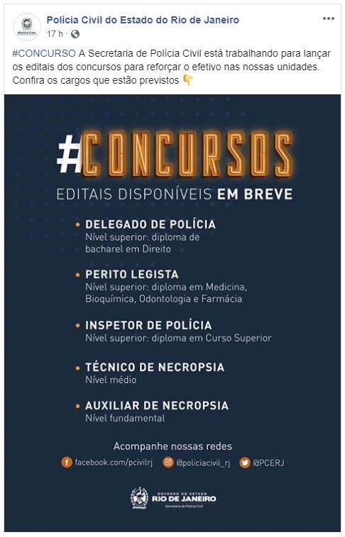 Post feito pela Polícia Civil do Rio de Janeiro